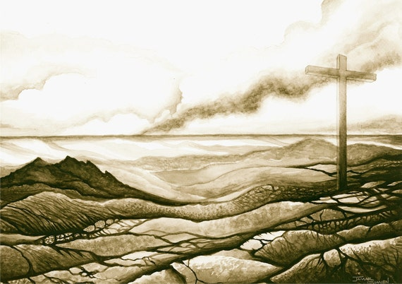 Landscape painting- spiritual watercolor painting- art print- cross artwork- FREE SHIPPING