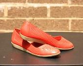 Leather Vintage Summer Picnic Red Basketweave Flats Sz 9 Rubber Sole