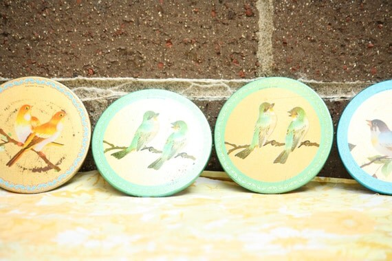 Vintage Elite Bird Coasters Made in England Set of 6 Blue, Green, Gold