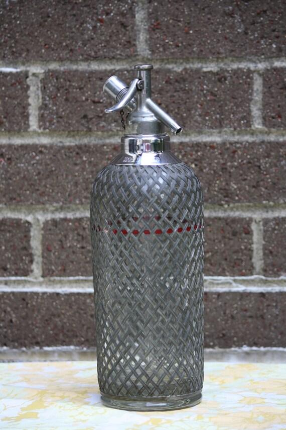 Antique Prohibition Vintage Sparklet Seltzer Glass and Metal Bottle Retro 1930s