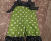 Green and White Polka Dot Knot Overalls