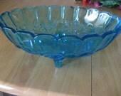INDIANA Blue Carnival Glass Pedestal Fruit  Bowl Harvest Grape