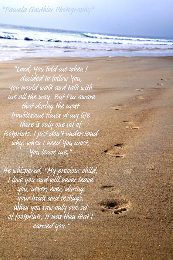Items Similar To Footprints In The Sand With Quote On Etsy