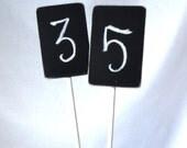 Set of 6 Rectangle Chalkboard Stakes - Wedding Table Numbers - Mini Chalkboard