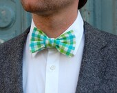 Men's Bow Tie in Green Turquois Plaid - Perfect For Weddings