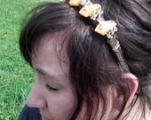 Athena yellow and goldtone vintage necklace headband