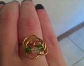 Gold Wire Angle Ring with Green and Crystal Beads, Approximately size 7