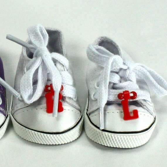 Hand Embellished Tennis Shoes fits 18 in Doll - American Girl Doll