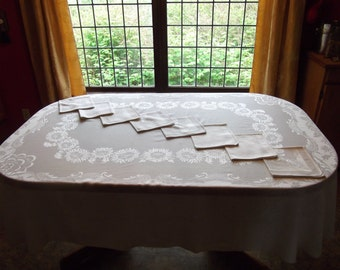 Vintage 1940s White Jacquard Tablecloth and Napkin Set