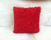 Soft, Fuzzy Red Pillow Cover