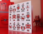 Robot greeting card (blank inside)