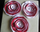 Red and White Sparkle Satin Fabric Flowers Appliques White Bead Center Hand Sewn Ready To Ship