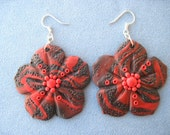 Flower Shaped Earrings  - Red Brown - Unique handmade - RESERVED