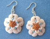Light Flowers Earrings Polymer Clay Unique handmade - Fimo - OOAK