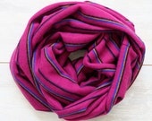 Stripy infinity scarf in lightweight knit in cyclamen purple blue black and brown - loop scarf tube circular
