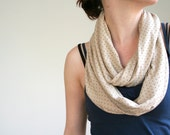 Polka dot infinity scarf in beige and black - loop scarf tube circular - limited edition