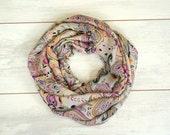 SALE 25% Multicolor infinity scarf in beige purple orange brown and green chiffon - loop scarf tube circular, christmasinjuly CIJ