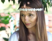 Wedding Floral Headband / Wedding Hair Accessories / Pearls Embroidered Soft Headband / Bridal hair peice /  Floral headband / Lace Headban
