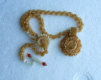 Removable Bead embroidered Golden Druszy Pendant with Pearls on Spiral Rope