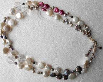 Double Strand Coin Pearls, with Faceted  Crystal Quartz and  Silver Slide Insert clasp