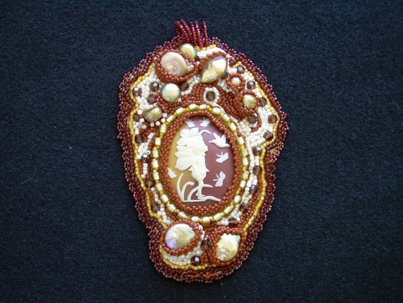A Little MagicFW Pearls. resin cameo, Japanese seed Beads, Czech crystals