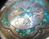 Vintage Jewelry Navajo Silver Signed  Pendant Inlay Turquoise Handcrafted by J. Nezzie