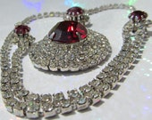 Vintage Jewelry Rhinestone and Simulated Ruby Stone Necklace
