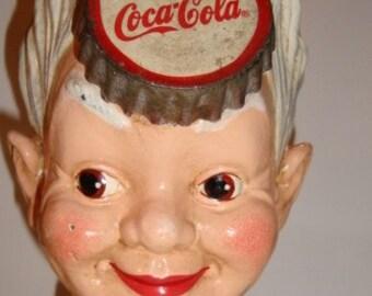 Coca-Cola Cast Iron Still Bank Sprite Boy FEB 2 1875 dated plug