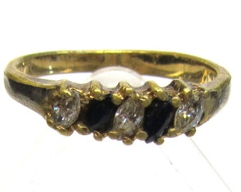 Topaz Ring Vintage Jewelry Blue and Rhinestones Gold Tone -CLEARANCE