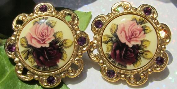 1928 Jewelry Co Vintage Jewelry  Rose Motif Yellow Gold Tone Earrings