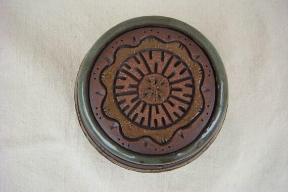 Pottery - Hazelnut Hand Carved Lidded Bowl - 1133