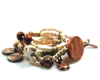 Wrap bracelet macrame knotted, cream brown, brass copper, with wood, shells, turtle charm - OOAK unique jewelry woman gift