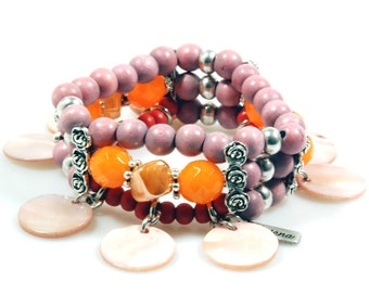 Beaded bracelet pink, orange and coral red - shell pendants - Ibiza, hippie, beach style - unique handmade jewelry - SALE from eur 33,95