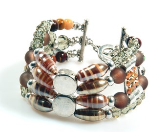 Cuff bracelet beaded in brown and silver color with Swarovski, bracelet Murano glass and gemstone - boho chic jewelry - SALE from eur 39,95