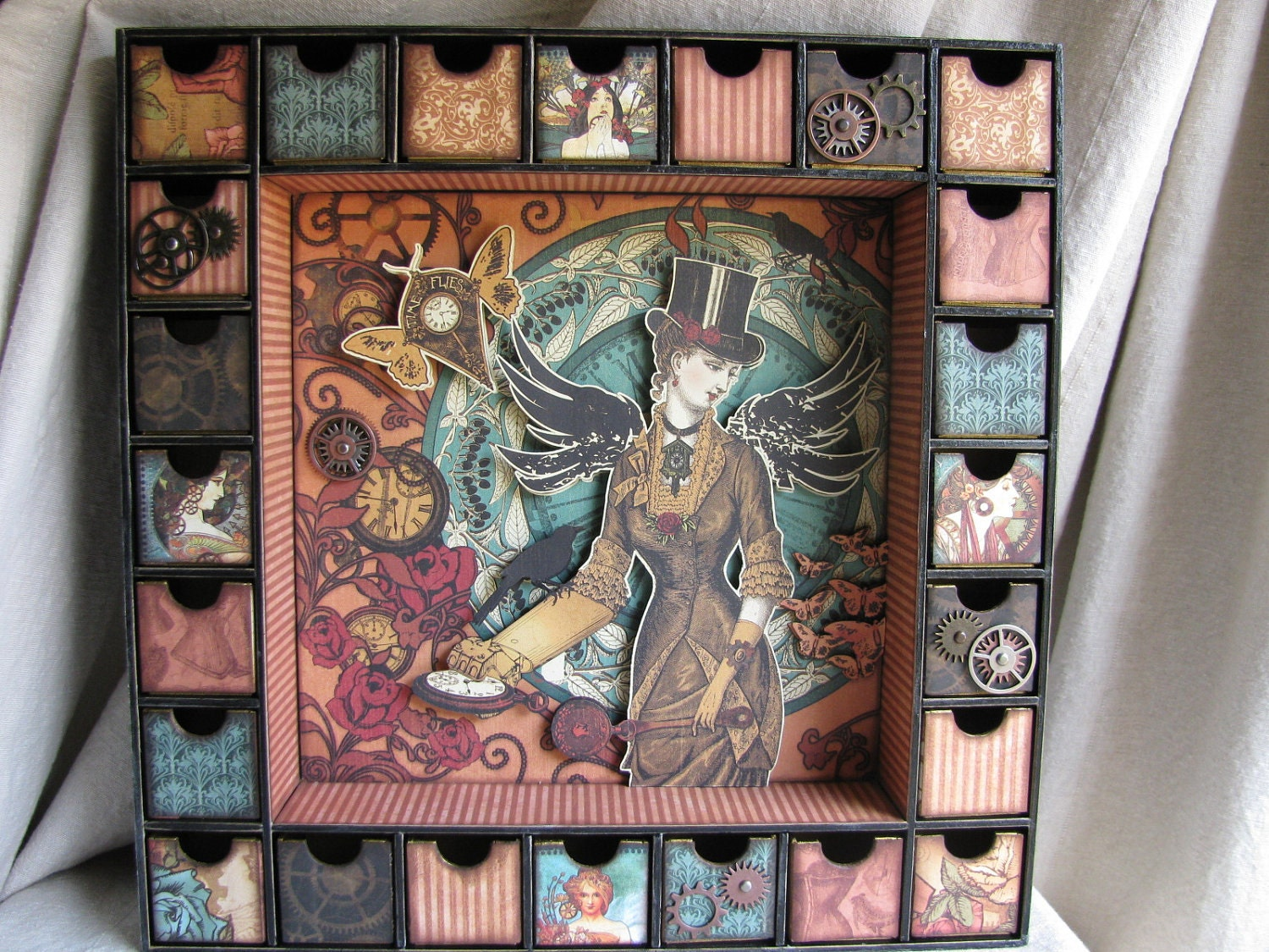 Steampunk Advent Calendar/Shadow Box By IndieBillyCrafts