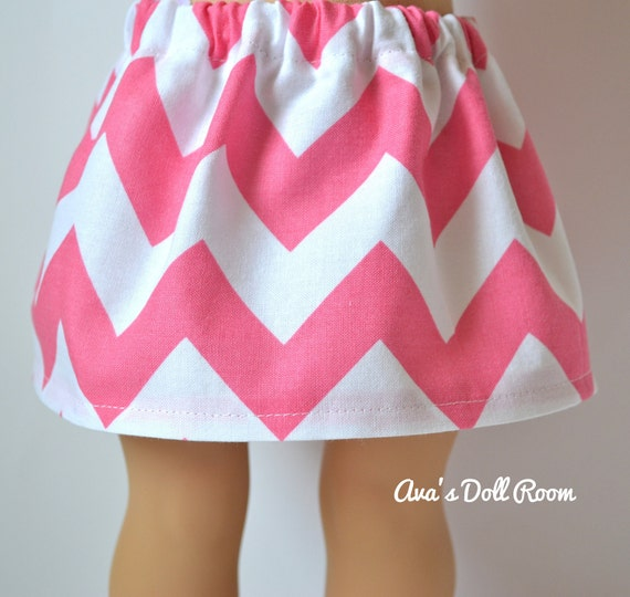 American Girl Doll Clothes - Pink and White Chevron Skirt
