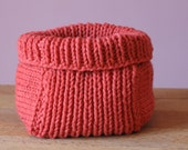 Coral Knitted Basket - RESERVED