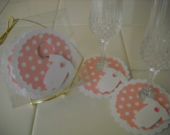 Pink Baby  Paper Stemware Charms - set of 12