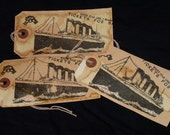 Titanic Handstamped Gift Tags Men Boys Ships Set of Three Tea & Coffee Stained