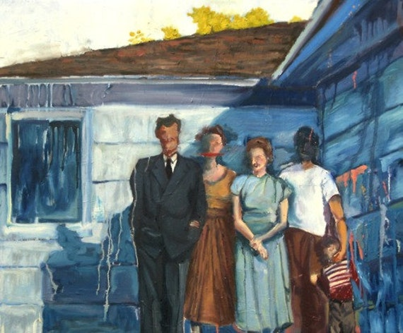 Blue Hopper like Oil Painting - medium size portrait of 1950s family mysterious