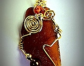 Wire Wrapped Brown Seaglass Pendant