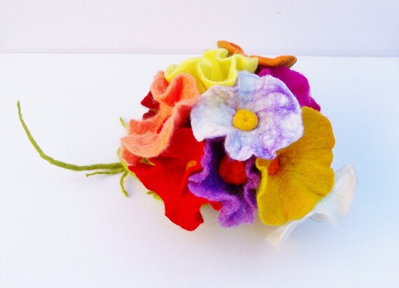 11x Flower bouquet bouquet bouquet for the wedding felt Biedermann bouquet bridal bouquet spring bouquet of felt flowers