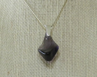 Purple Glass Pendant Necklace Sterling Silver Chain