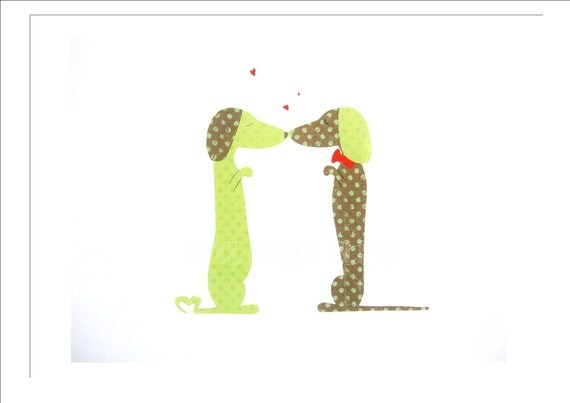 Daschund Love - Print of my Original Dog Paper Design - Green Brown Spot - 8 x 10 inches