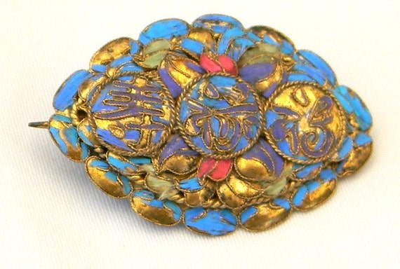 Victorian Chinese Kingfisher Feather Happiness Wealth Longevity Silver Gilt Brooch Pin