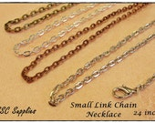 "20 Small Link Chain Necklace- 24"" - 2 x 3 Oval Link, Antique Brass Chain, Silver Chain, Antique Copper Chain, Antique Silver, Jewelry Chain"