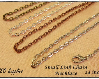 "5- Small Link Chain Necklace- 24"" - 2 x 3 Oval Link, Antique Brass Chain, Silver Chain, Antique Copper Chain, Antique Silver, Jewelry Chain"