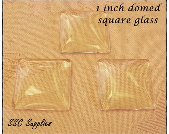 40 - Clear 1 inch Square Glass Domes, cabochon 25mm - 1'' square, inchie
