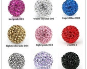 Wholesale  50PCS X12MM Crystal stones Loose Spacer Bead Pave Disco Ball Rhinestone Beads  / Can choose any color.