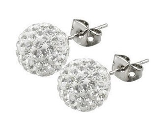 Pair 8mm Crystal stones Bead Pave Disco Ball Rhinestone Beads With 925 Silver Earrings Studs  / white